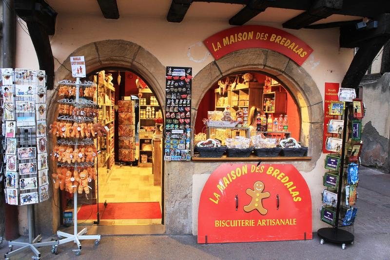A little shop with traditional products from Alsace, France stock photos