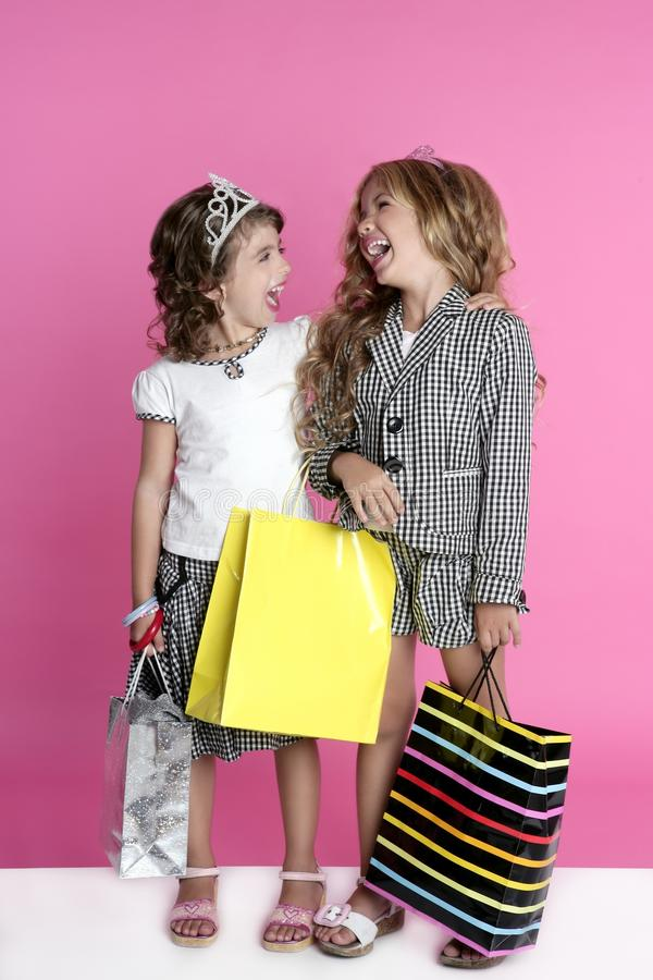 Free Little Shopper Humor Shopaholic Girls Royalty Free Stock Image - 16069356