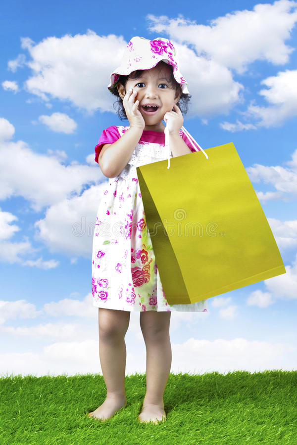 Download Little shopping girl stock photo. Image of indonesian - 24301144