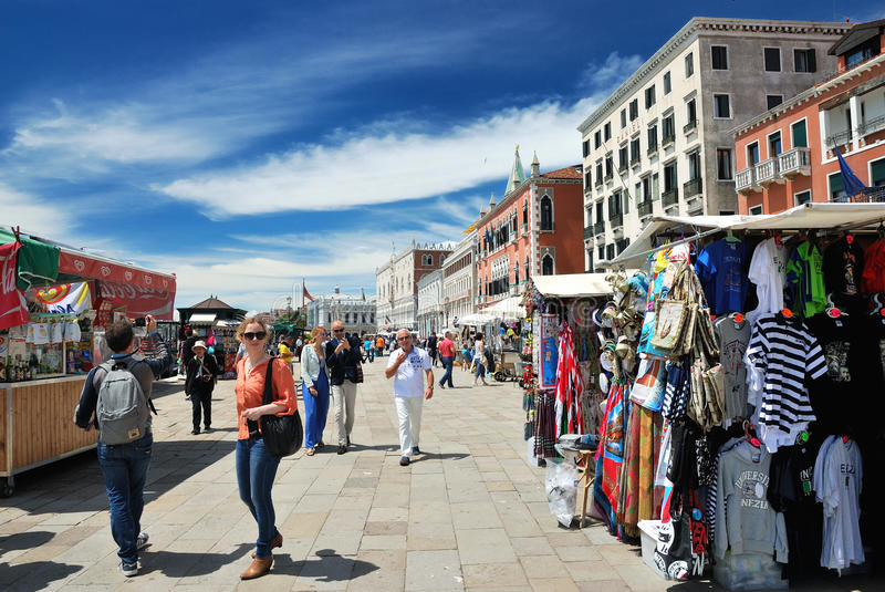 Little shops and tourists in Venice royalty free stock photography