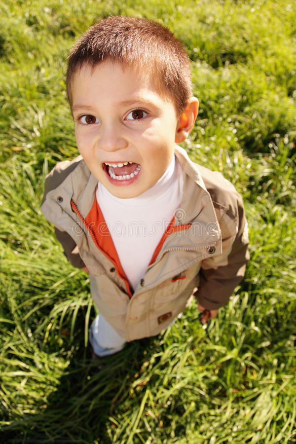 Download Little shouting boy stock image. Image of jacket, child - 16235009