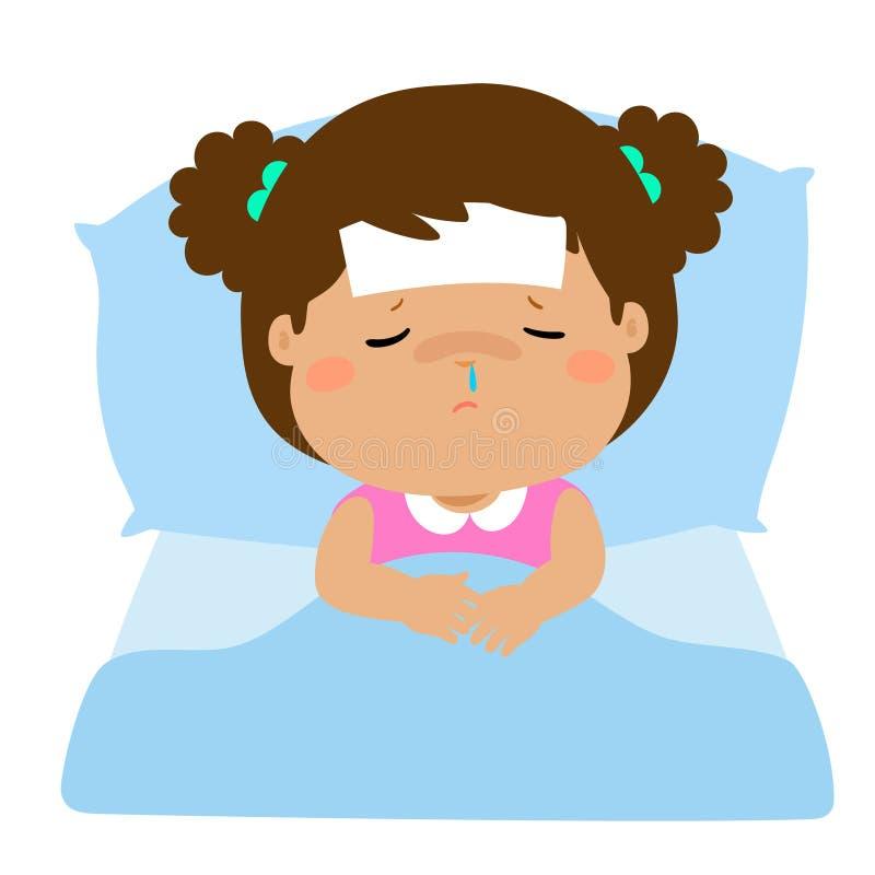 little sick girl sleep in bed stock vector illustration of rh dreamstime com