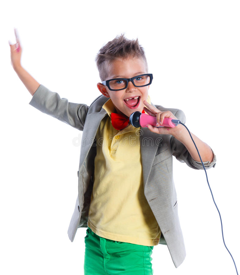 Free Little Singer And Showman Royalty Free Stock Photos - 55888008