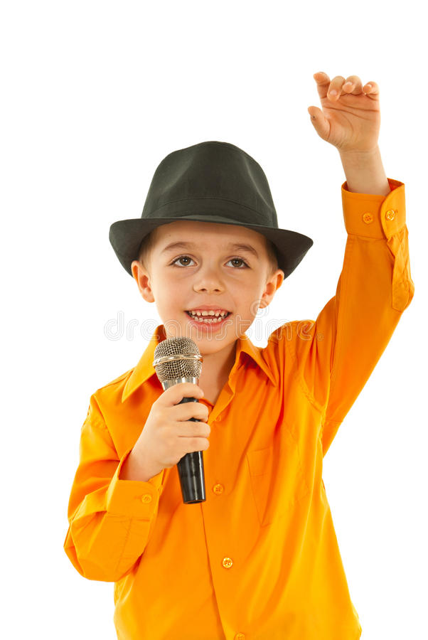 Download Little Singer Welcomes Public Stock Photo - Image: 23507830