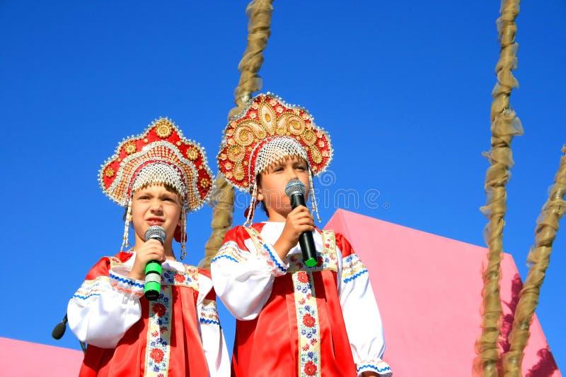 Little singers stock photo