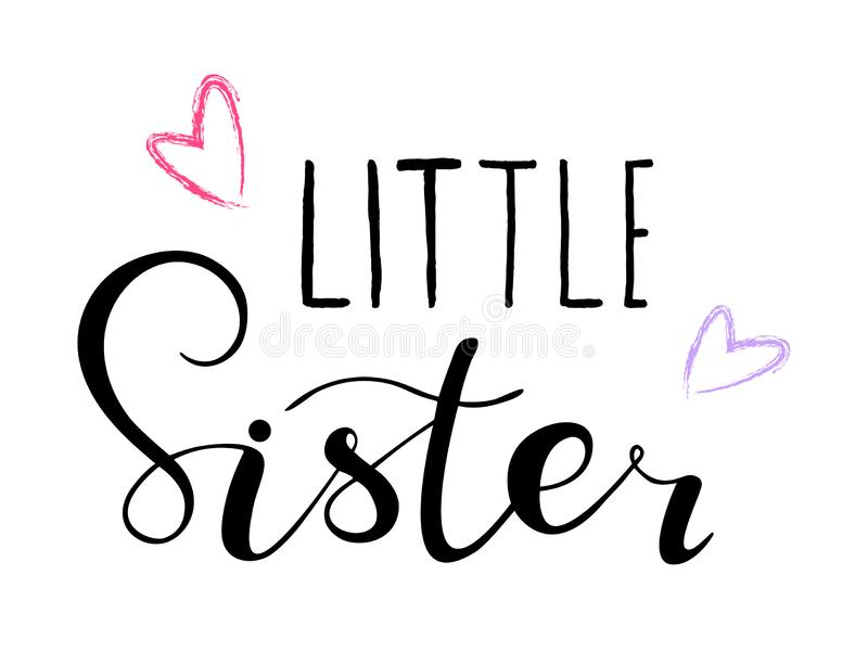 Little sister. Design for babies t-shirts, onesie. Little sister. Lettering for babies clothes, design for t-shirts, onesie and nursery decorations bags royalty free illustration