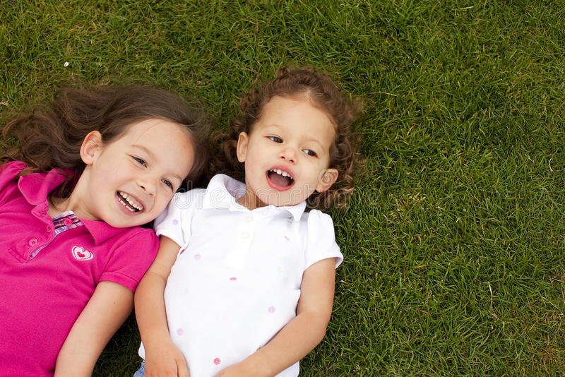 Little sisters stock photography