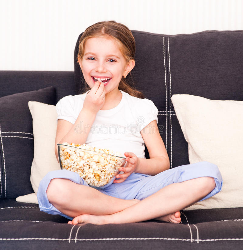 Download Little girl watching TV stock image. Image of little - 30120285