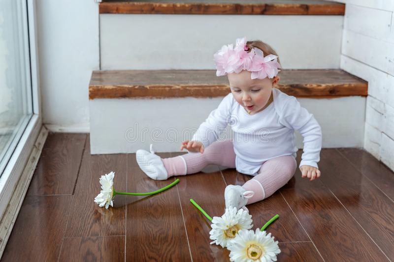 Happy girl playing at home royalty free stock images