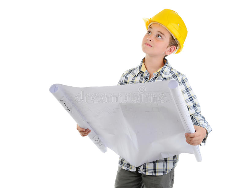 Little smiling builder in helmet stock photos