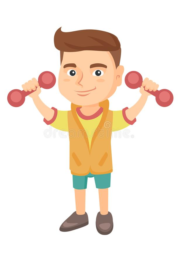Little smiling caucasian boy holding dumbbells. Cheerful boy exercising with dumbbells. Happy boy raising dumbbells. Vector sketch cartoon illustration royalty free illustration