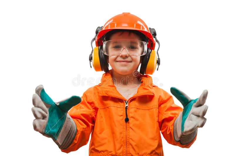 Little smiling child boy engineer or manual worker. In safety hardhat helmet and gloves white isolated royalty free stock images