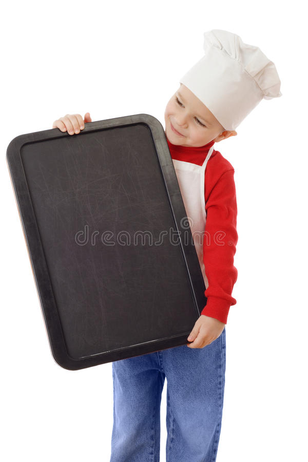 Little smiling cooker with empty chalkboard royalty free stock image