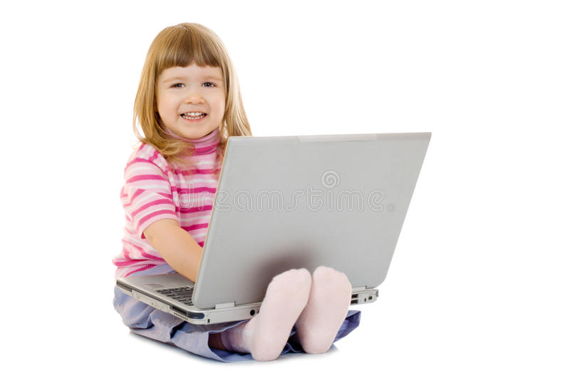 Download Little Smiling Girl With Laptop Stock Image - Image of computer, beautiful: 13463911