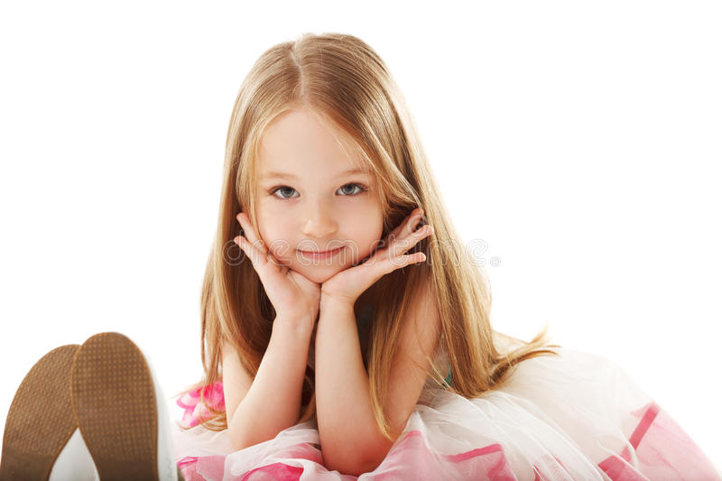 Little smiling girl looking at camera royalty free stock photos