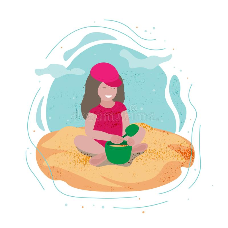 Little smiling girl playing with a bucket and a shovel sitting in the sand near the water. royalty free illustration