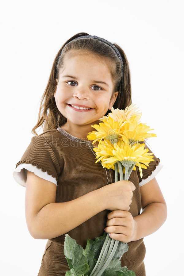 Download Little Smiling Hispanic Girl With Flowers. Stock Photo - Image: 5538576