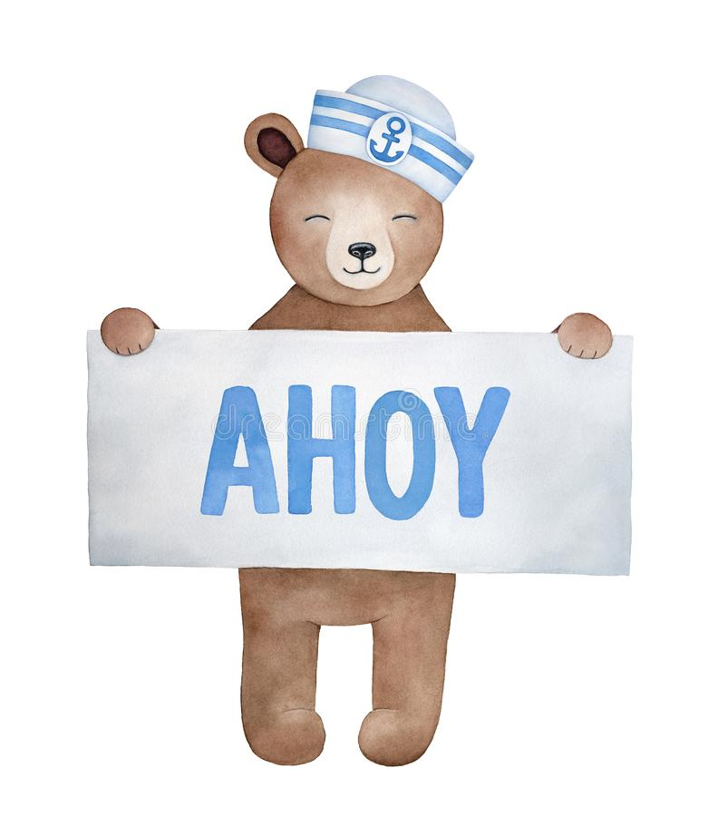 Little smiling teddy bear holding paper sign with word `Ahoy`. stock illustration