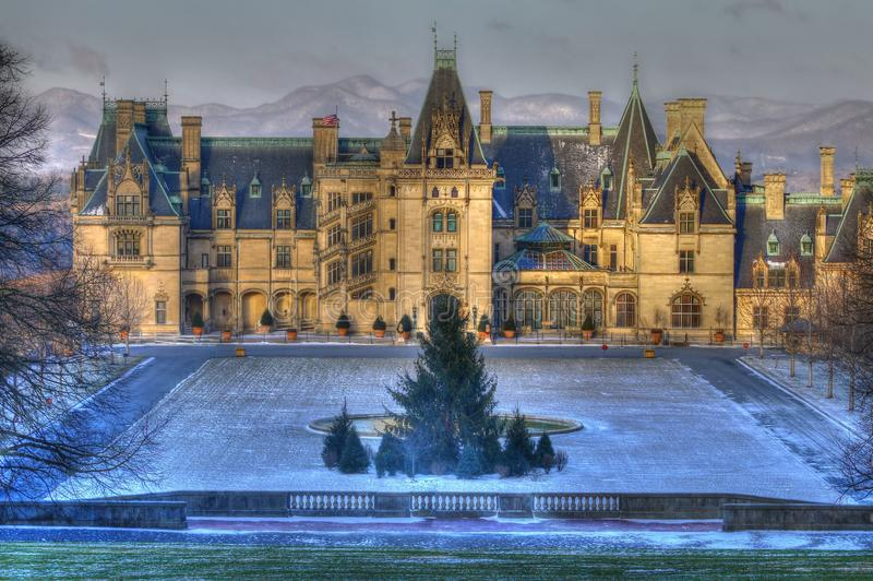 A Little Snow at the Biltmore and Blue Ridge Mount. Glacial temperatures and a little snow descend the Biltmore estate this morning royalty free stock image