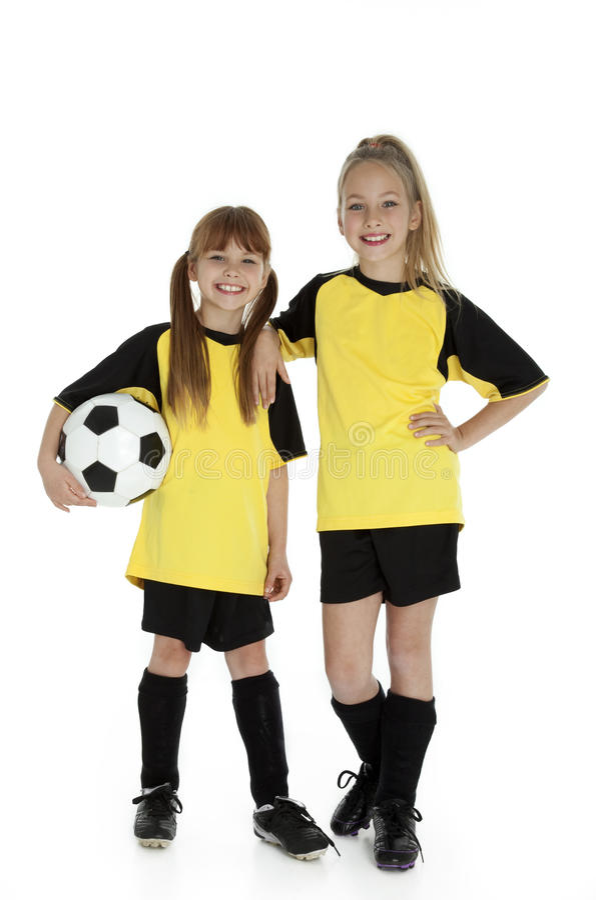 Little Soccer Sisters stock photo