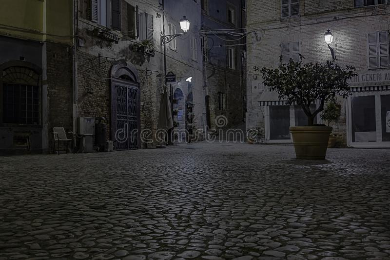 Little square in the night stock image