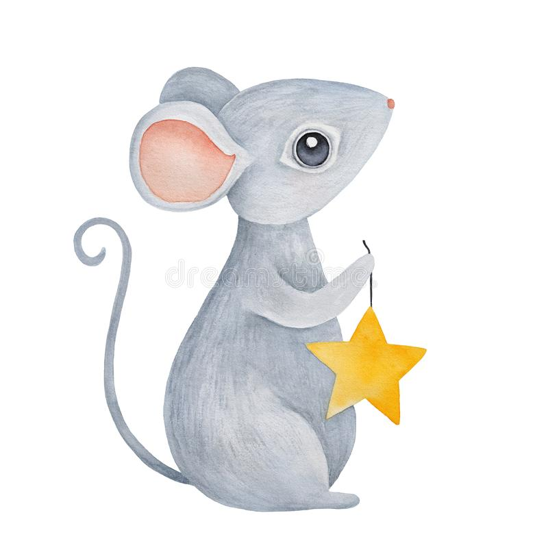 Little standing baby mouse with adorable big eyes and ears, holding string with gold star. stock photos