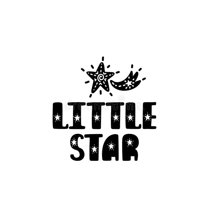 Little star. Hand drawn nursery print with meteor. Black and white poster stock illustration