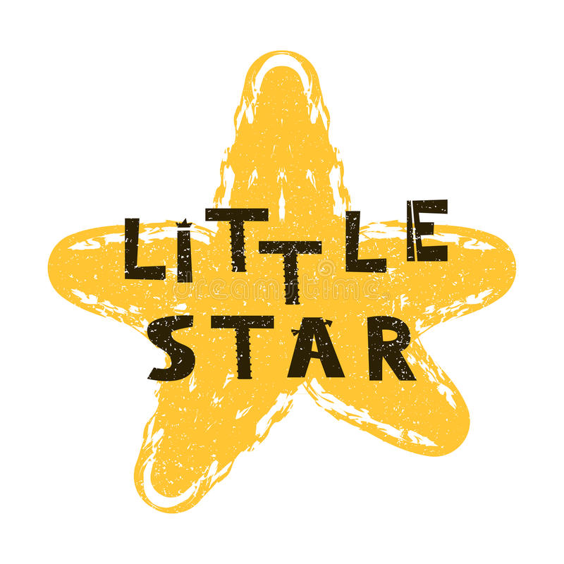 Little star. Hand drawn style typography poster. stock illustration