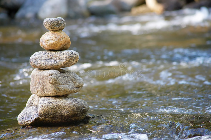 Little stream with many stones stock photos