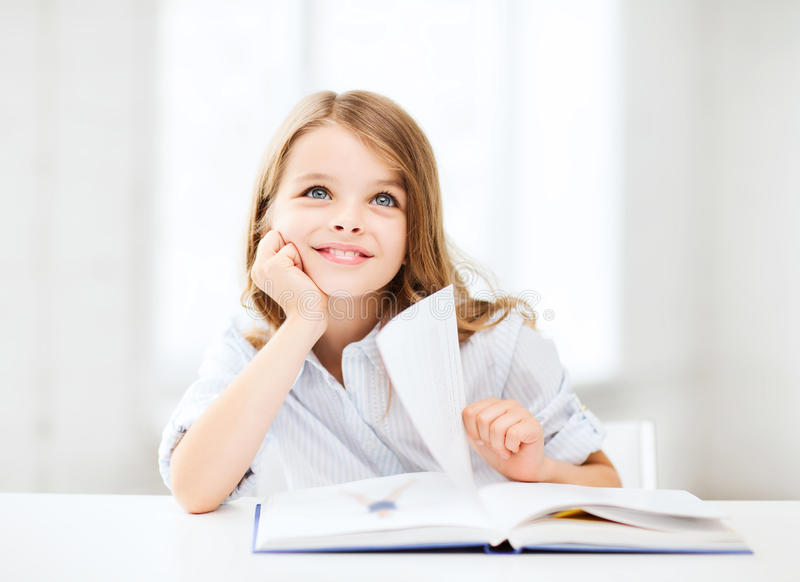 Little Student Girl Studying At School Royalty Free Stock Image