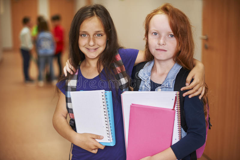 Little students before lesson royalty free stock photography