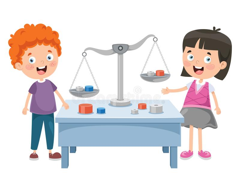 Little Students Using Scales Of Justice royalty free illustration