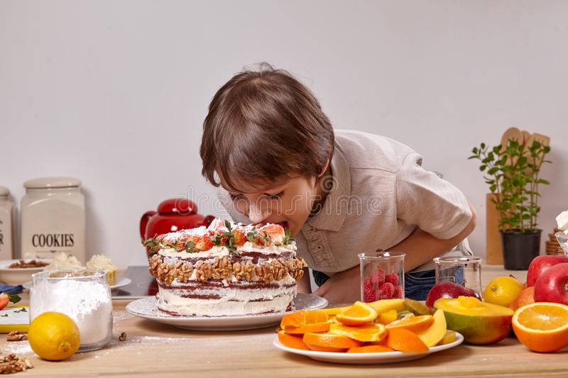 Little boy is making a homemade cake with an easy recipe at kitchen against a white wall with shelves on it. Little stylish boy with smeared in powdered sugar royalty free stock photography