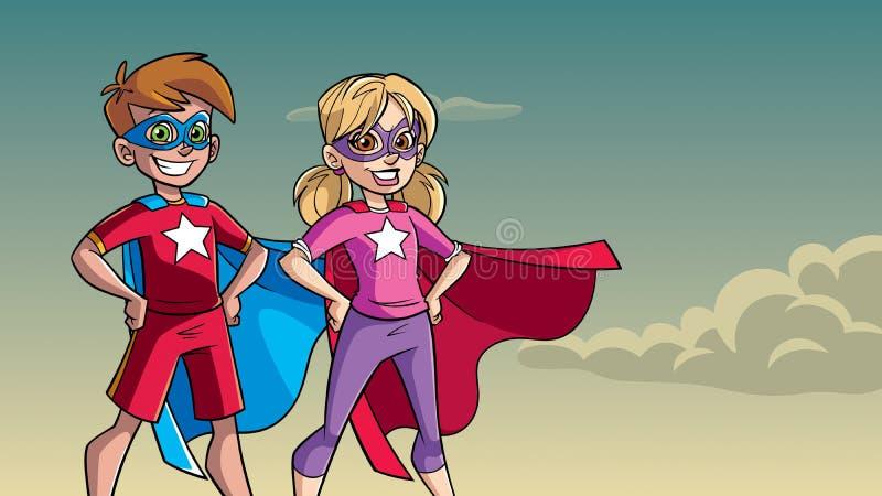 Little Super Kids Sky Background stock illustration