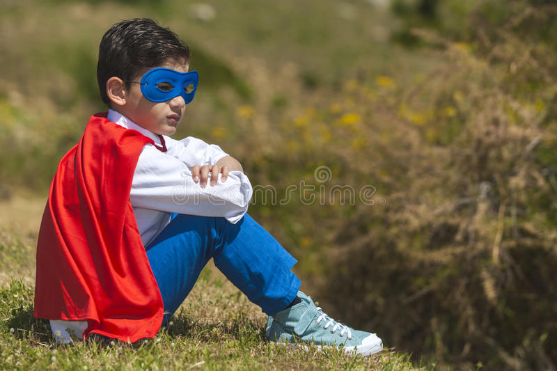 Little Superhero resting royalty free stock images