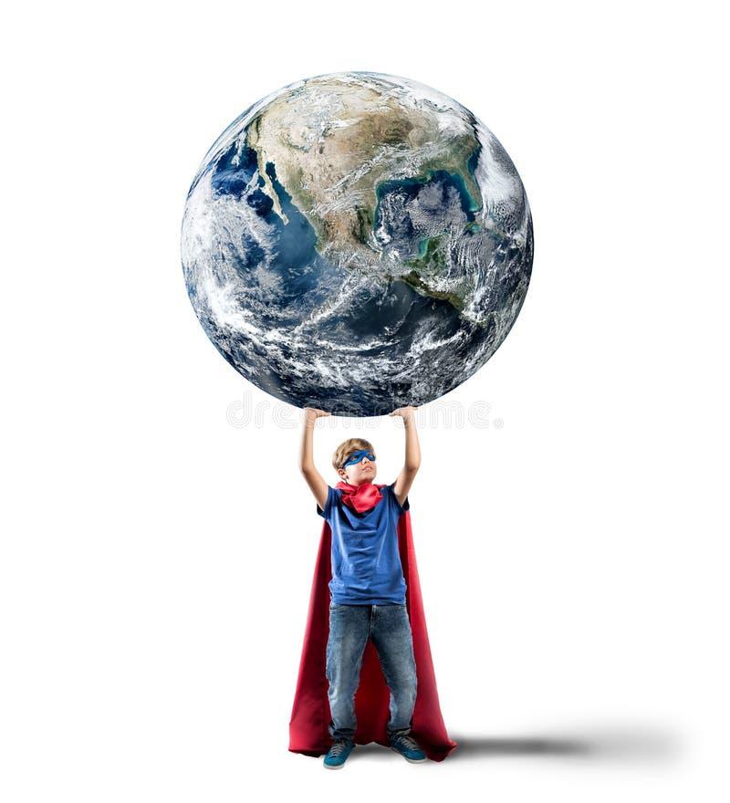 Little superhero saves the world royalty free stock photography