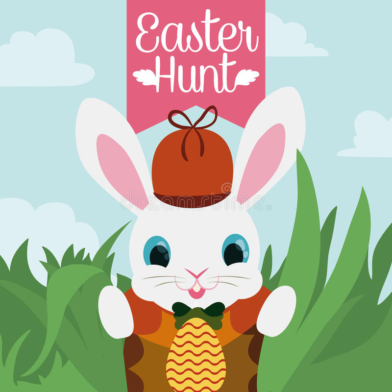Little Sweet Easter Rabbit Playing Outside Egg Hunt, Vector Illustration royalty free stock images