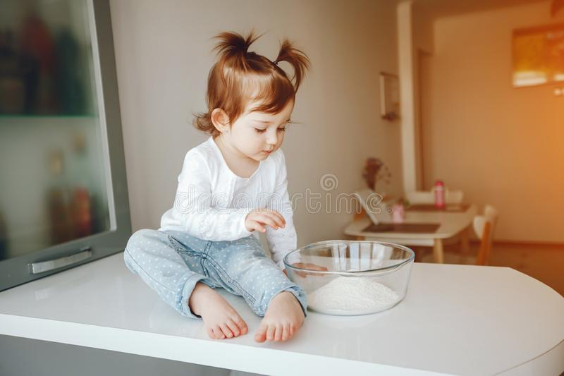 Cute little girl at home stock photography