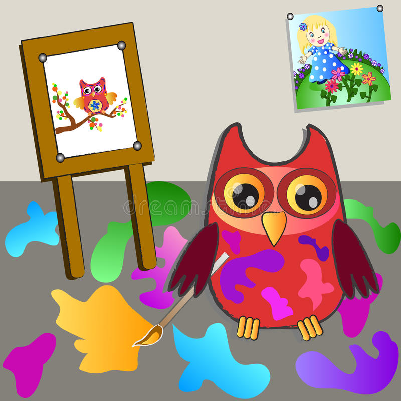 Little sweet owl of paiting vector illustration