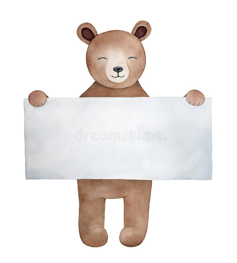 Little teddy bear character with big square shaped paper note vector illustration