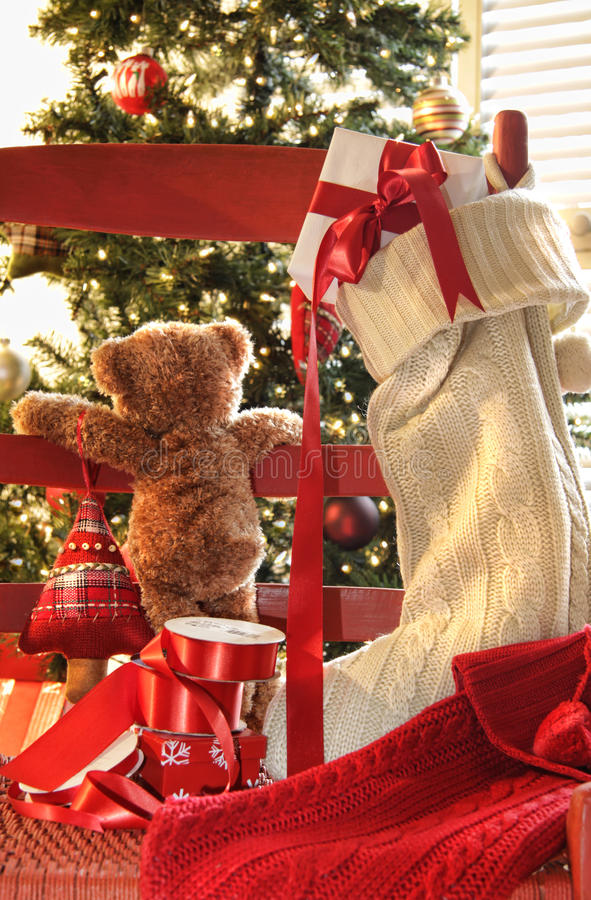 Free Little Teddy Bear Looking Through Chair Stock Image - 11638501