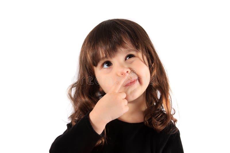 Little thinking girl stock image
