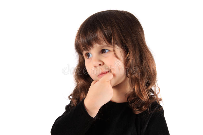 Little thinking girl stock images