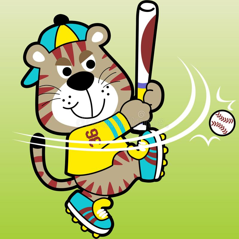Funny baseball player cartoon vector vector illustration