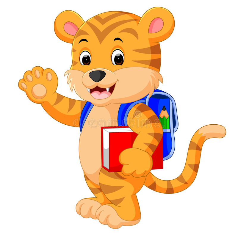 Little tiger goes to school. Illustration of little tiger goes to school stock illustration
