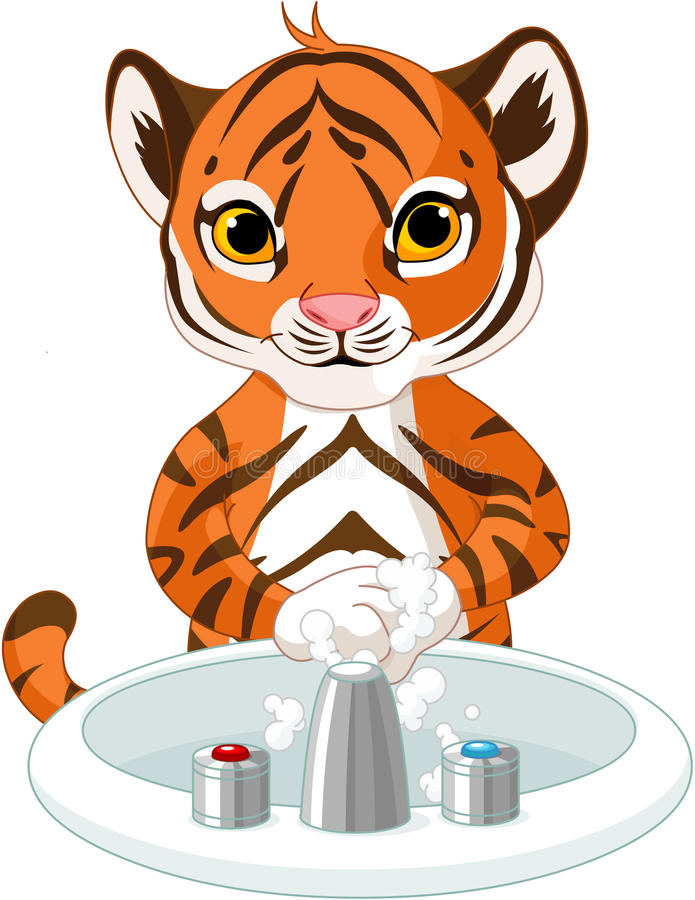 Free Little Tiger Washing Hands Stock Image - 57848741