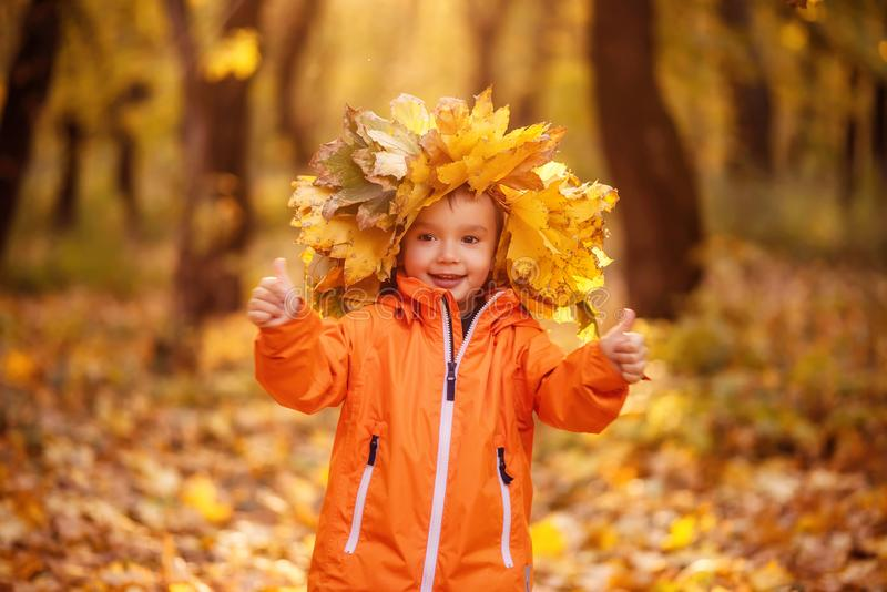 Little toddler boy in crown of yellow leaves standing in colorful autumn park and showing two thumbs up. stock image