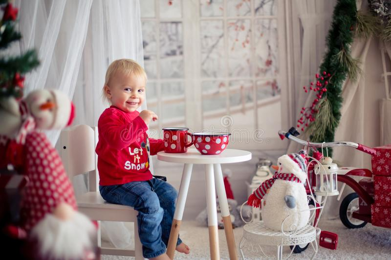 Little toddler boy, drinking tea and eating cookies with plush toy on a snowy day royalty free stock image
