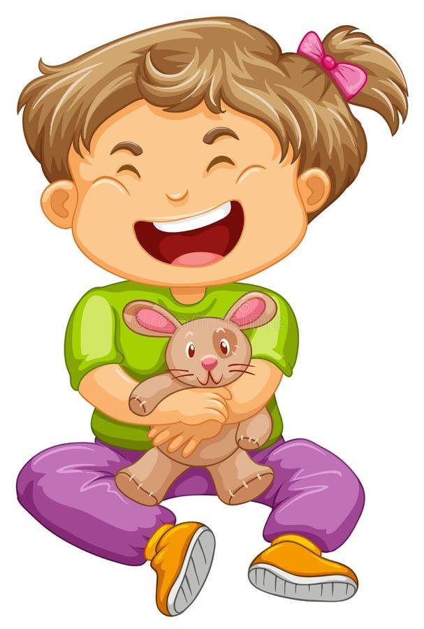 Little toddler girl with bunny doll. Illustration vector illustration