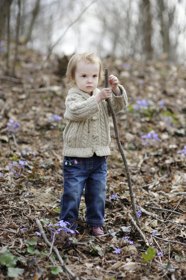 Download Little Toddler Girl Playing With A Stick Stock Image - Image: 13894463